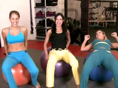 Alyssa Reece and lesbian girlfriends in the gym
