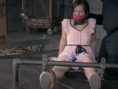 Bondage sub whipped by male dominator