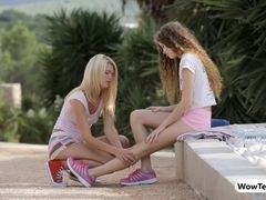 Two very tight teen girls intimate lesbian sex outdoors