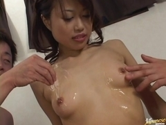 Saori Iwaki Asian chick gets hot creampie pussy