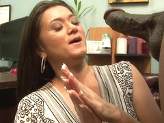 Brunette is fucked really rough by a huge ebony peter
