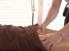 Fancy oil rubbing massage session of Rachel Roxxx exposing her bald pussy to the masseur