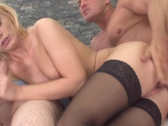 Cockhungry euro babe gets DP fucked