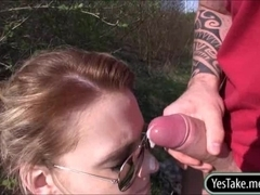 Eurobabe Meggie pussy stuffed in public and cum facialed