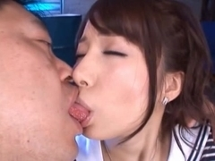 Alice Miyuki gets her face covered in cum by Japanese businessman