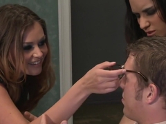 Exotic pornstars Tia Cyrus and Allie Haze in crazy threesome, small tits adult scene