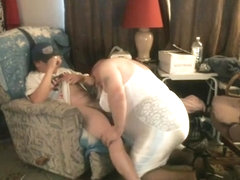 Chubby crossdresser loves to suck cock and swallow