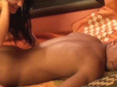 Bella gives massage and blowjob to black stud