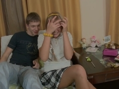 golden-haired with pigtails fucking with her boyfriend