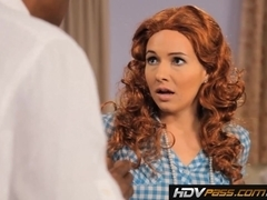 Redhead slut Ashli Orion sucks a big black cock before riding it to orgasm