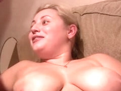 Huge jizz load on my big plump tits