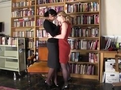 Lesbians In Library Room
