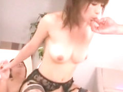Horny Japanese model Kaho Kasumi in Exotic Stockings/Pansuto, Threesomes JAV video