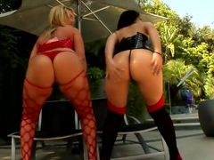 Amazing pornstars Luscious Lopez and Flower Tucci in fabulous threesome, creampie porn video