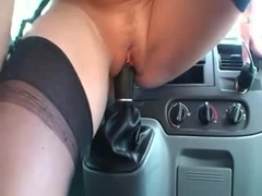 German MILF with toy, gearshift and cock