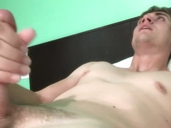 Teen boy shoots cum in his face