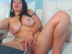Adorable whore plays with her dildo