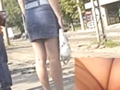 Hawt golden-haired upskirt sweetheart on a bus stop