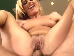 Ravishing blonde milf Darryl Hanah fucks a hard dick in every position