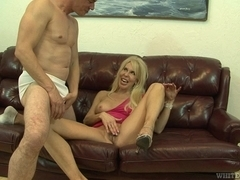Hot blonde with hairy pussy does a professional blowjob