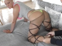 German Blonde in Pantyhose Gets Nailed