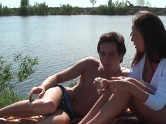 Anne in hot hard sex in nature in a sex tape video