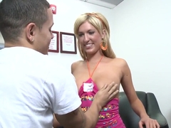 Stunning blonde Victoria White gives footjob