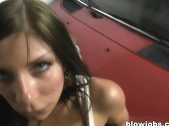 Hot cheating wife sucking cock in a toilet