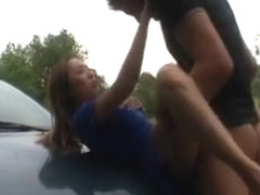 Asian slut fucking in a car with her French guy friend