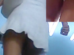 Gripping white summer suit upskirt
