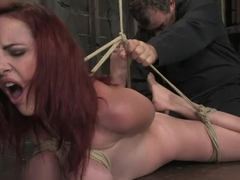 Berlin and her massive 32F breasts visitfor her first ever Hogtied shoot.
