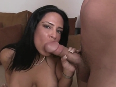 So sexy and handsome brunette chick Brenda Fox got down on her knees and giving great blowjob to h.