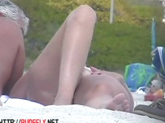 Two hot beach babes crotch shot big tits  voyeur video