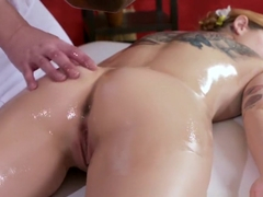 Massage Rooms Anal licking before hard fucking for sexy Spanish babe