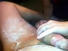 My aged wife helping me shave my dick and balls on web camera